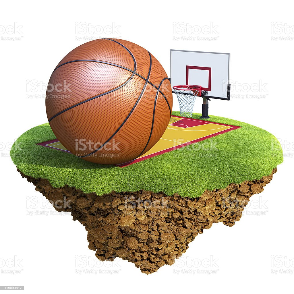 Basketball ball, backboard, hoop and court on little planet royalty-free stock photo