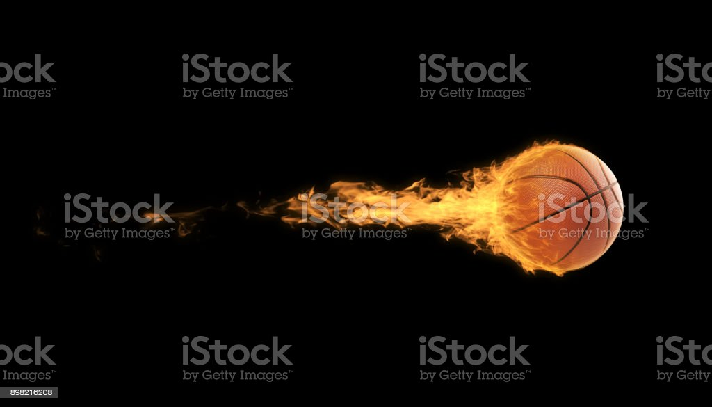 Basketball Ball In Flames Over Black Background stock photo