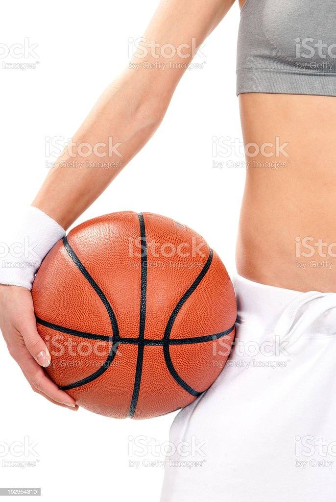 Basketball ball in hand hold royalty-free stock photo