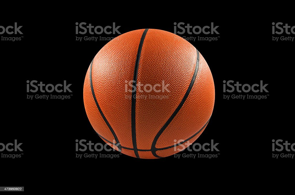 Basketball ball isolate on black background stock photo