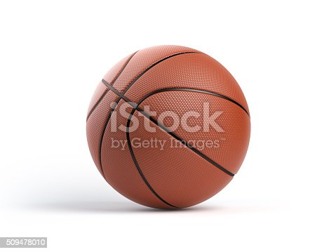 A nicely detailed basketball ball isolated on white background. The ball has nice leather texture. Isolated on white background. Clipping path is included.