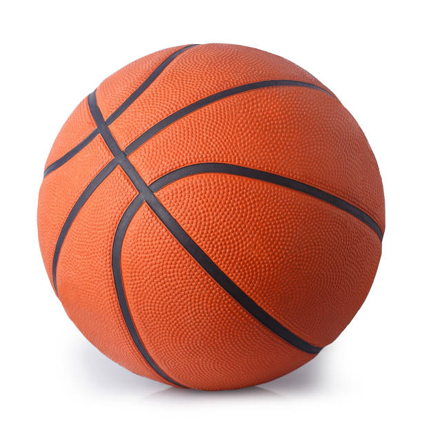 basketball ball isolated on white - basket foto e immagini stock