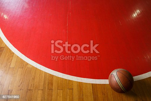 Basketball. Old leather ball on court floor, parquet.  Basketball  background with copy space.