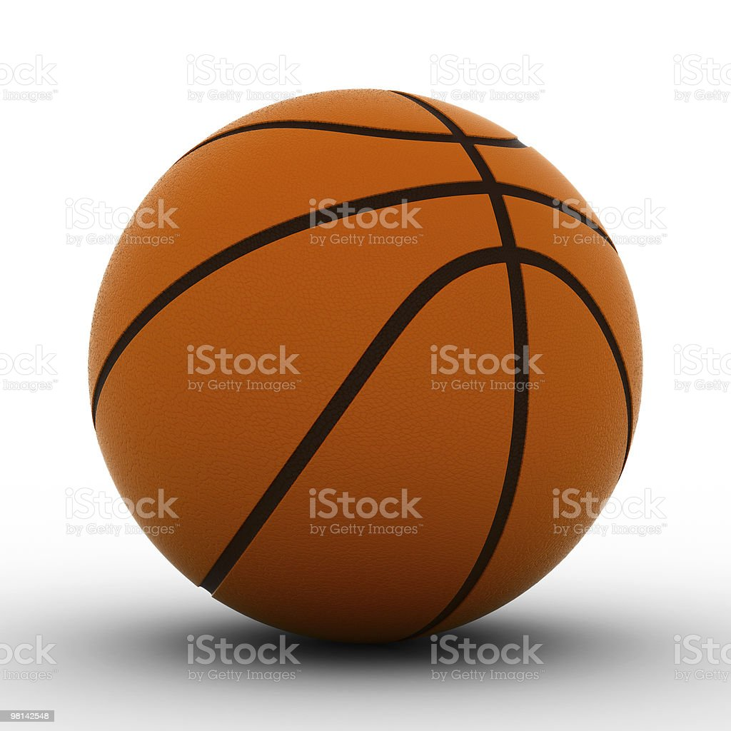 Basketball ball on white background. Isolated 3D image royalty-free stock photo