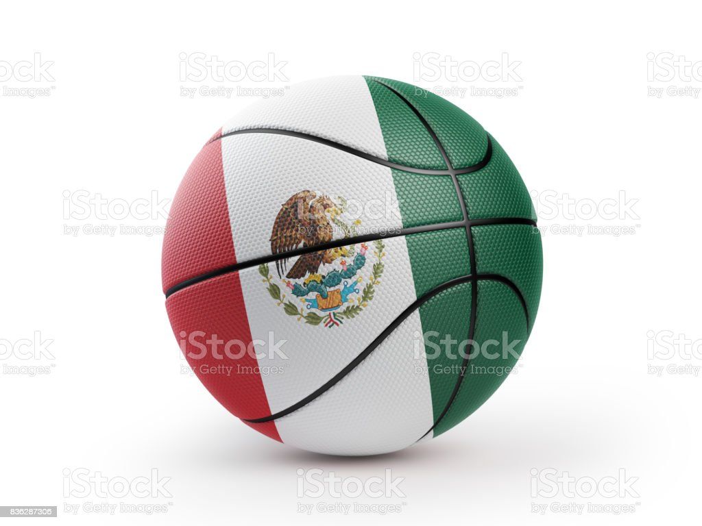 basketball ball textured with mexican flag isolated on white