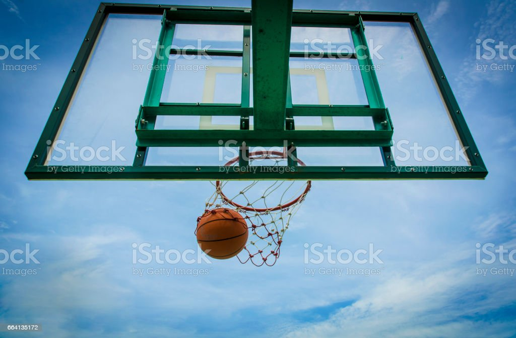 Basketball basket with all going through net stock photo