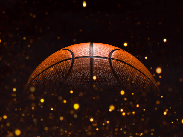basketball close-up on studio background - stock image - basket foto e immagini stock