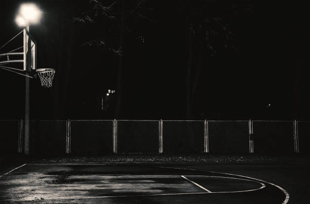 Basketball Court at Night stock photo