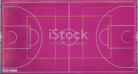 istock Basketball court empty for the sports game in basketball. View strictly from above with the drone. 1026729606