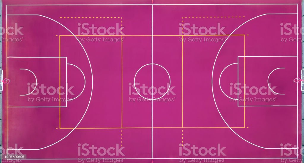 Basketball court empty for the sports game in basketball. View strictly from above with the drone. stock photo