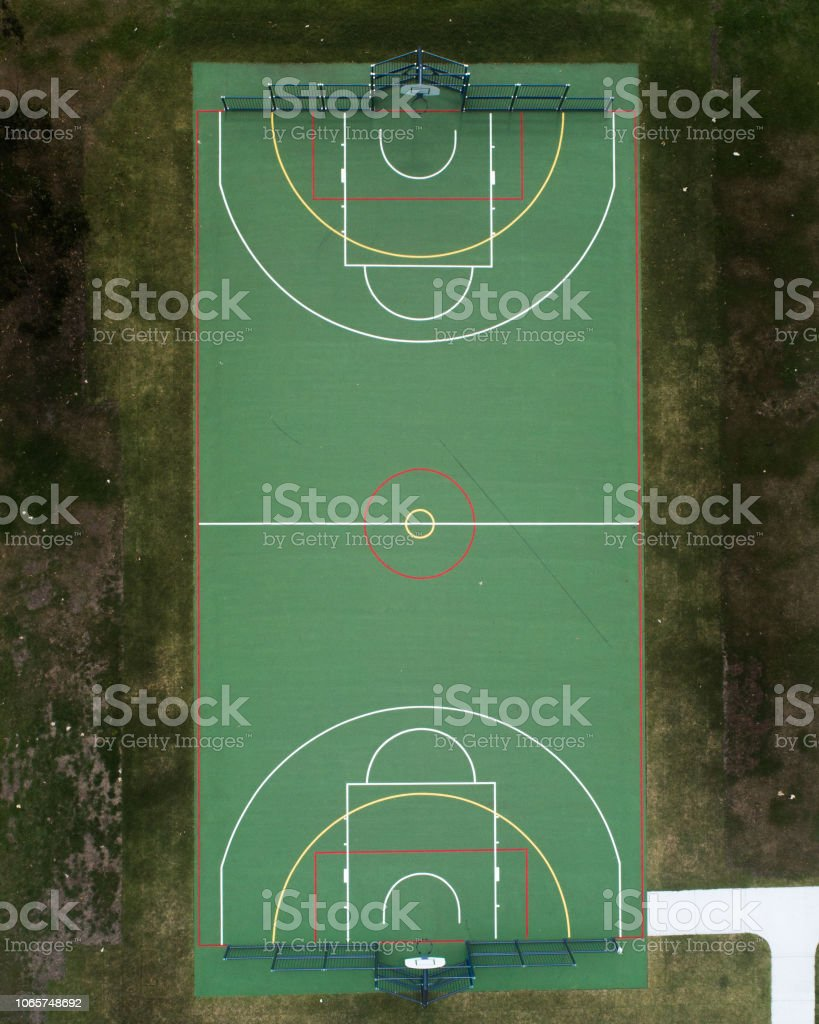 Basketball court from above stock photo