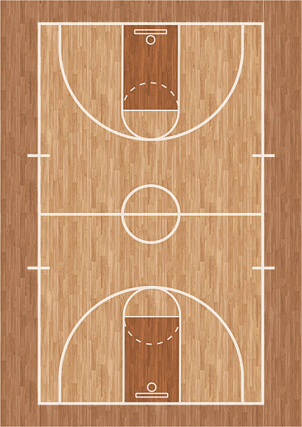 Basketball court illustration stock photo