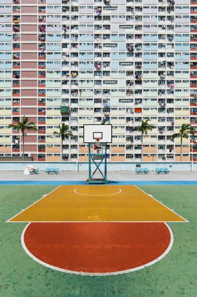 Basketballgericht in Wohnviertel in Hongkong – Foto