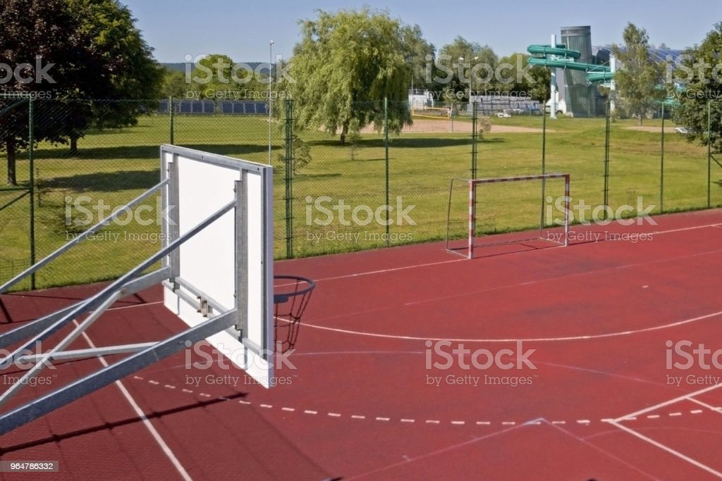 Basketball court in the courtyard on the centre of municipal sports and recreation. stock photo