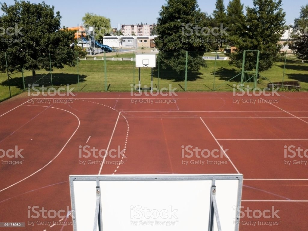 Basketball court in the courtyard on the centre of municipal sports and recreation. royalty-free stock photo