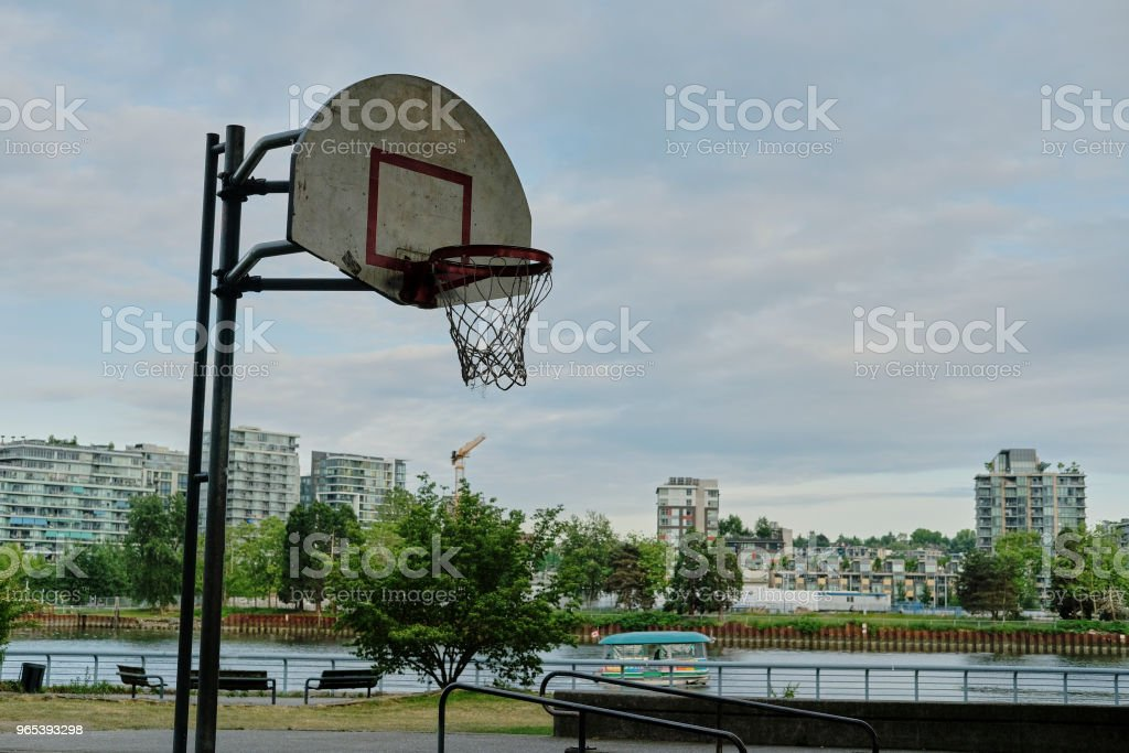 Basketball court in urban area zbiór zdjęć royalty-free