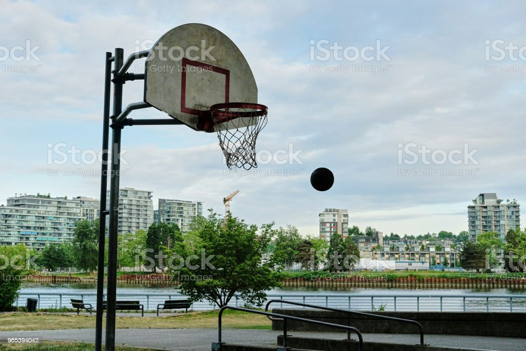 Basketball court in urban area royalty-free stock photo