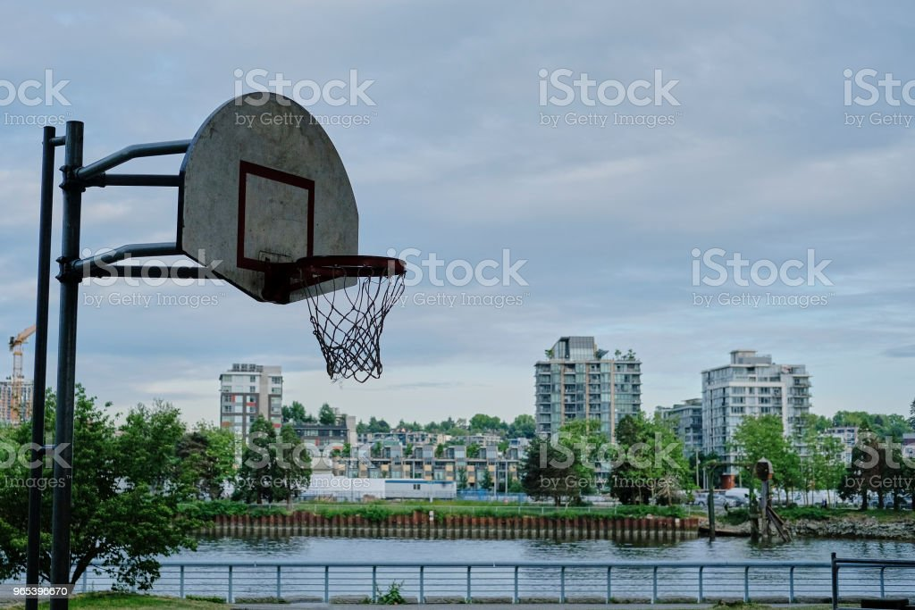 Basketball court in urban area zbiór zdjęć royalty-free