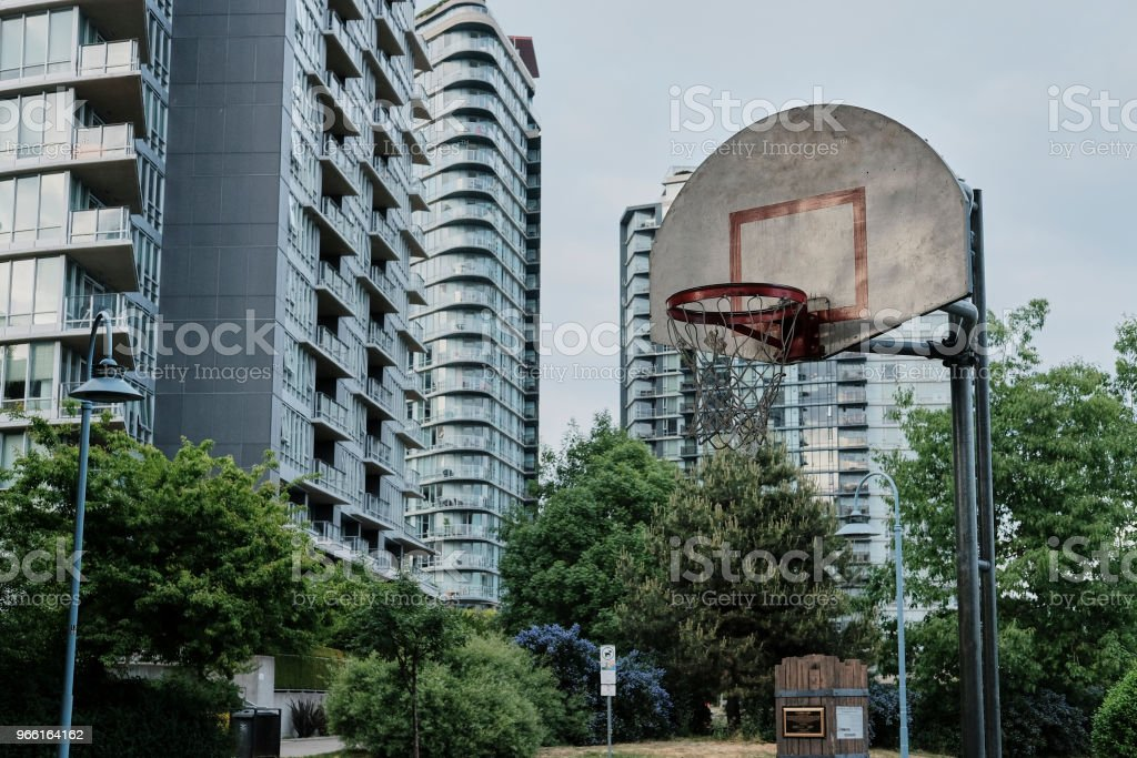 Basketball court in urban area - Royalty-free Asphalt Stock Photo