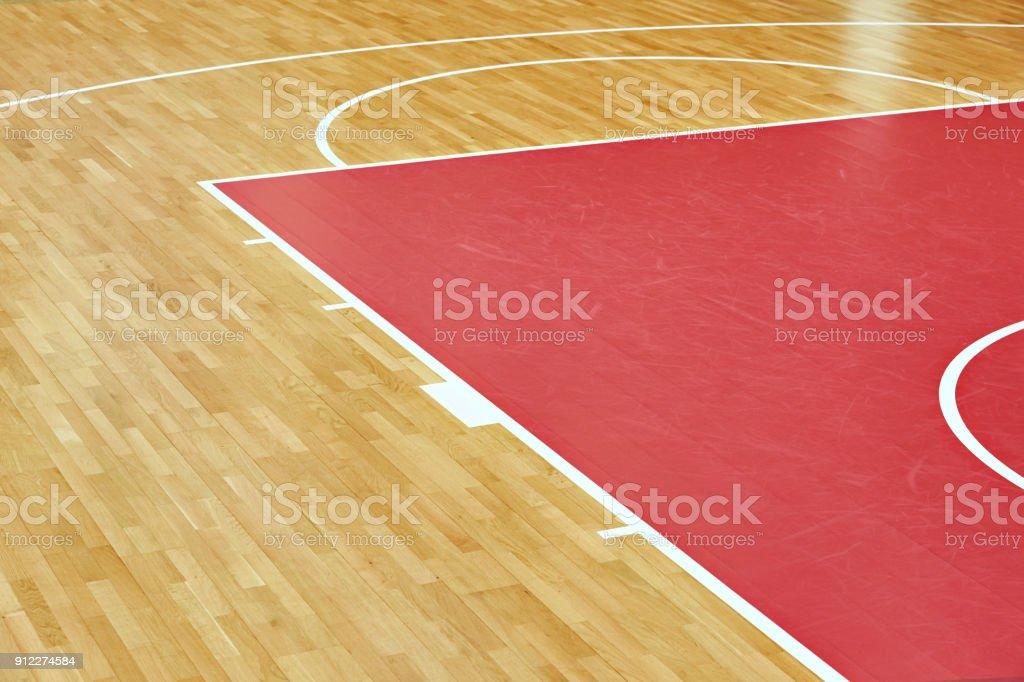 Basketball court parquet stock photo