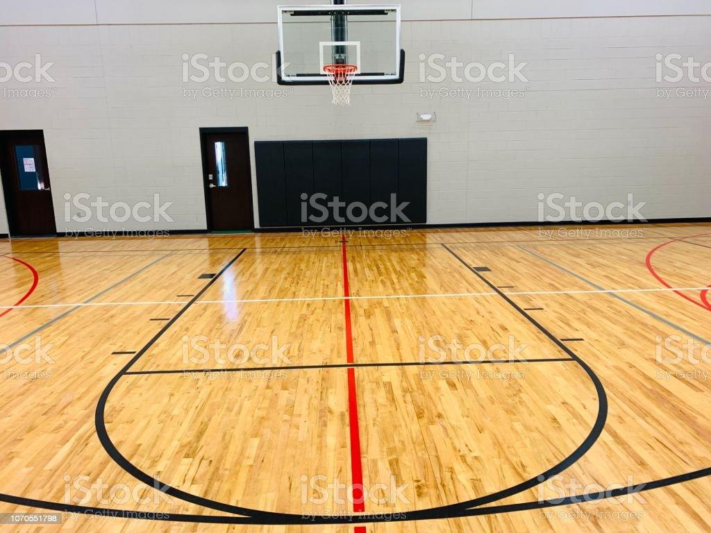 Basketball court with basketball goal