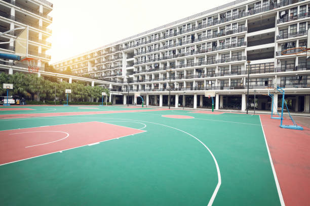 バスケットボールコート - 校庭 ストックフォトと画像
