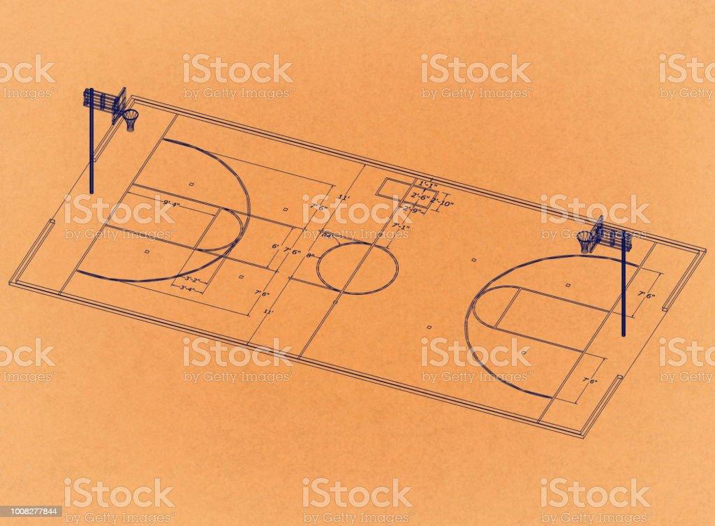 Basketballplatz - Retro-Architekt-Entwurf – Foto
