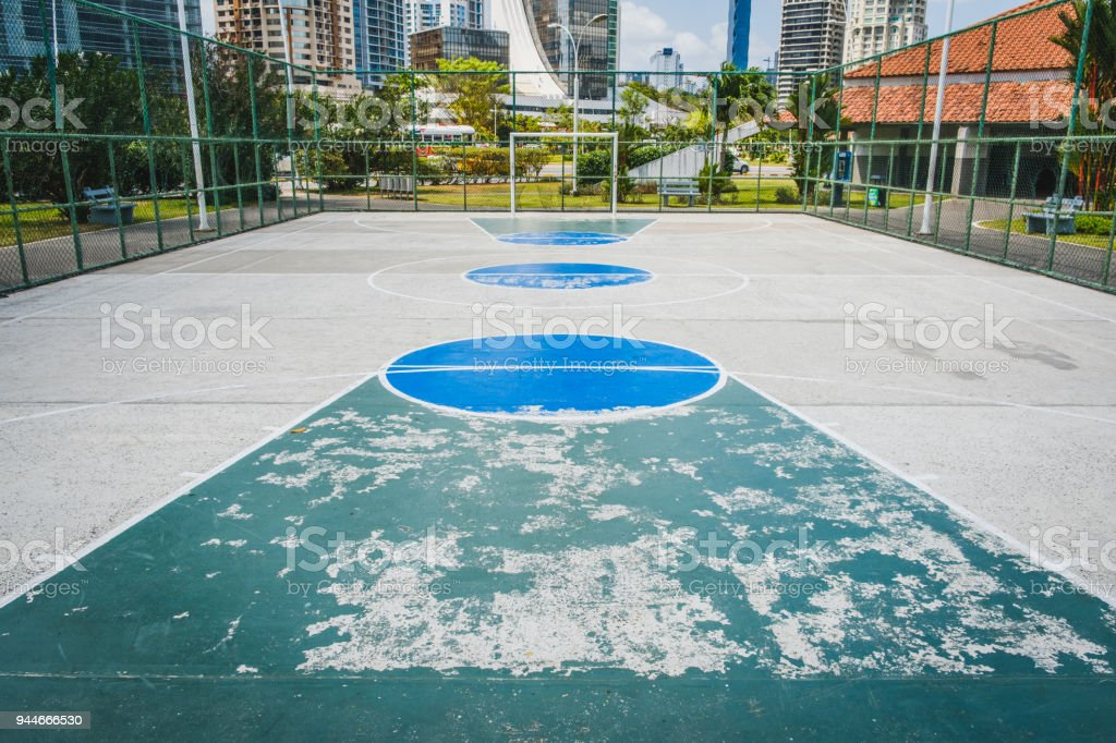 basketball court, soccer field - outdoor sport in city stock photo