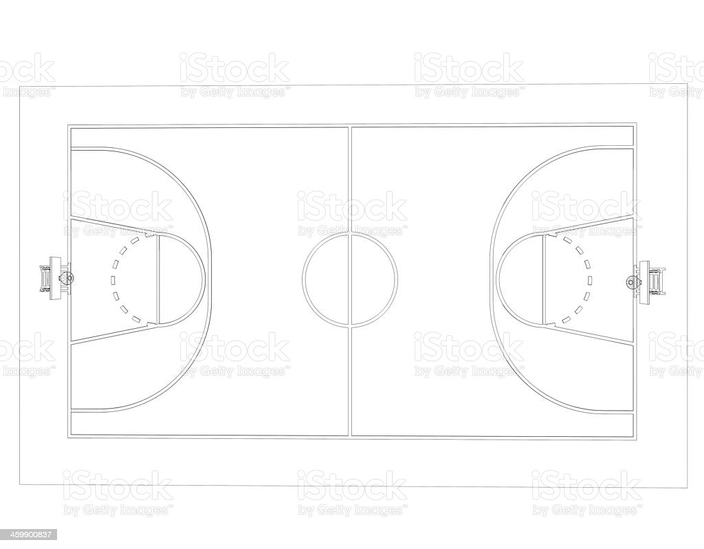 Basketball court. Wire frame stock photo