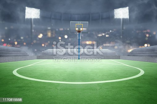 518943593 istock photo Basketball court with lights reflectors and tribune 1170815558