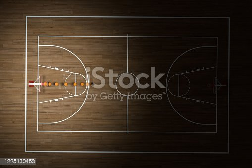 518943593 istock photo Basketball court with wooden floor, 3d rendering. 1225130453