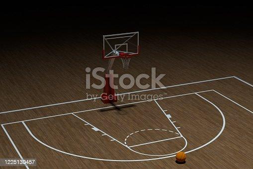 518943593 istock photo Basketball court with wooden floor, 3d rendering. 1225130457