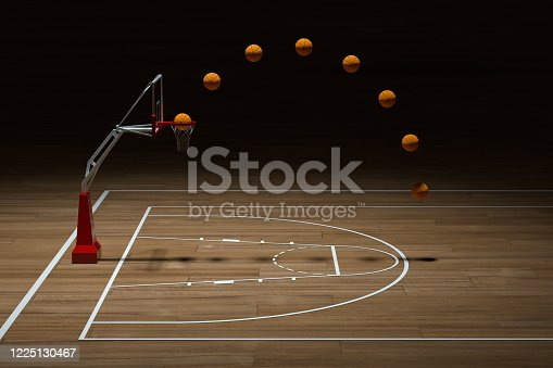 518943593 istock photo Basketball court with wooden floor, 3d rendering. 1225130467