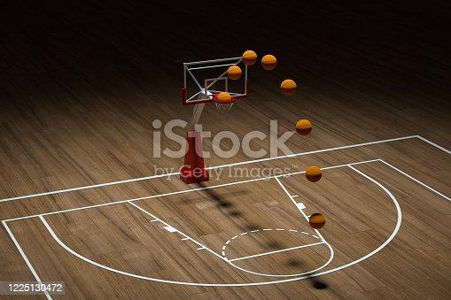 518943593 istock photo Basketball court with wooden floor, 3d rendering. 1225130472