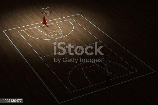 518943593 istock photo Basketball court with wooden floor, 3d rendering. 1225130477
