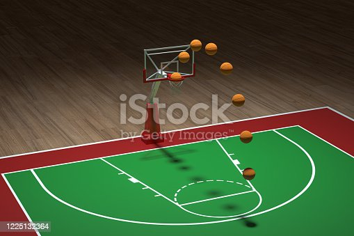 518943593 istock photo Basketball court with wooden floor, 3d rendering. 1225132364