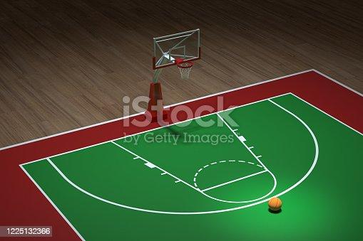 518943593 istock photo Basketball court with wooden floor, 3d rendering. 1225132366