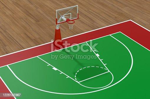 518943593 istock photo Basketball court with wooden floor, 3d rendering. 1225132367