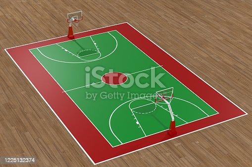 518943593 istock photo Basketball court with wooden floor, 3d rendering. 1225132374