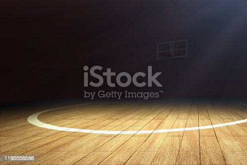518943593 istock photo Basketball court with wooden floor and a basketball hoop 1195558598