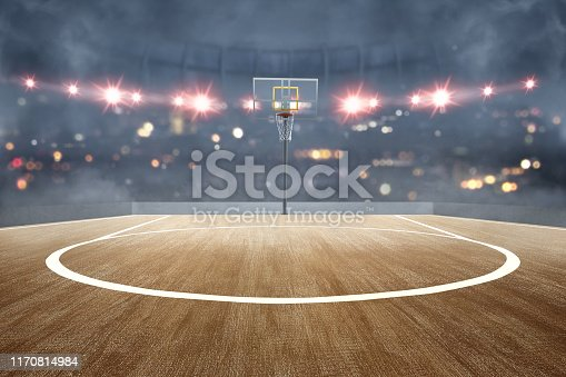 517960203 istock photo Basketball court with wooden floor and spotlights 1170814984