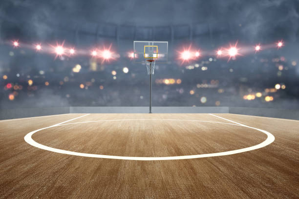 basketball court with wooden floor and spotlights - basket foto e immagini stock