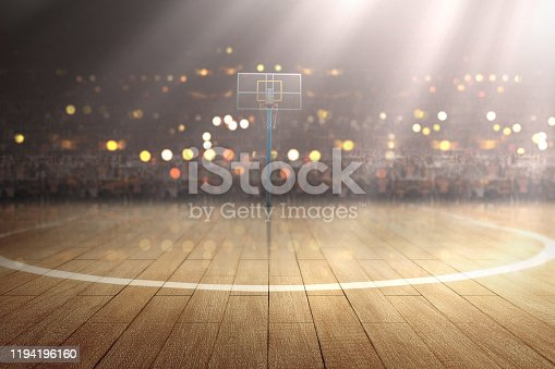 517960203 istock photo Basketball court with wooden floor and tribune 1194196160