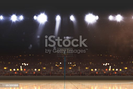 518943593 istock photo Basketball court with wooden floor and tribune 1199386966