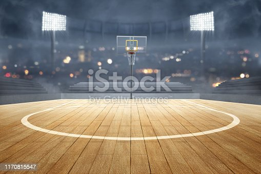 517960203 istock photo Basketball court with wooden floor, lights reflectors, and tribune 1170815547
