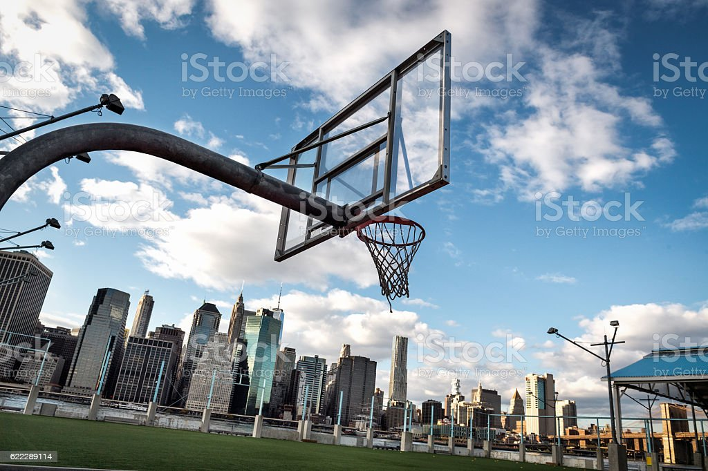Basketball courtyard in New York stock photo