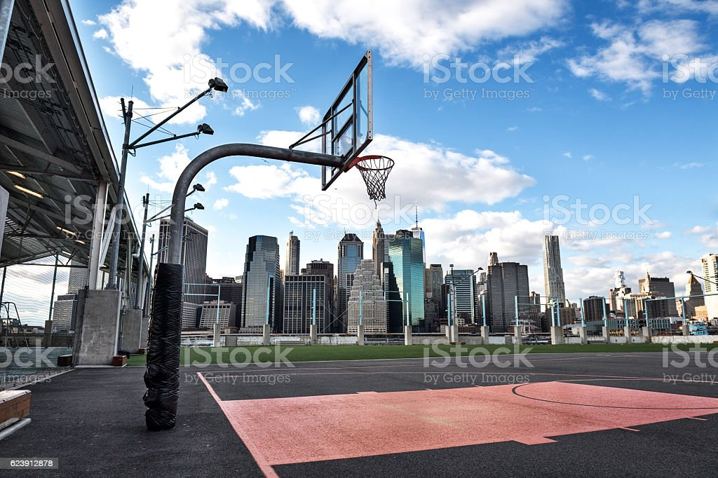 Basketball courtyard in the city stock photo