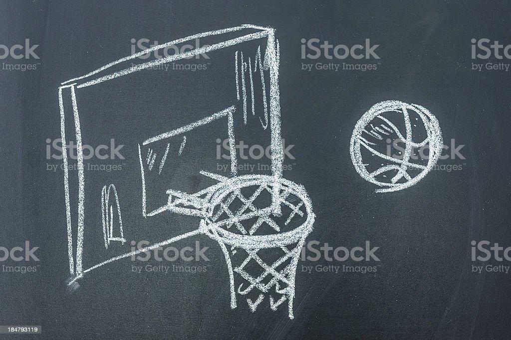 Basketball drawn on black board stock photo