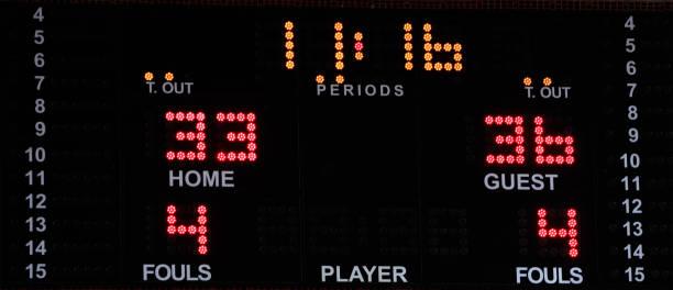 basketball-elektronische anzeigetafel mit hellen zahlen - led uhr stock-fotos und bilder