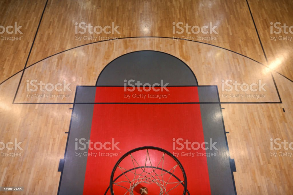 Basketball entering the hoop Overhead view of a Basketball Hoop Basketball court stock photo